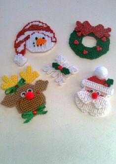 Plastic Canvas Christmas Magnets