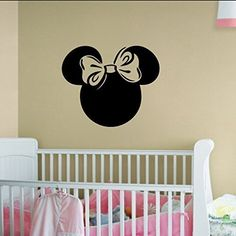 Minnie Mouse Inspired Head Silhouette with Bow Vinyl Wall Decal Sticker Graphic
