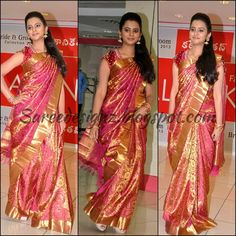 SareeDesignz: Super Pretty Pink Kanjeevaram Bridal Silk Saree