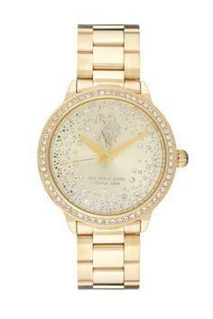 Venda U.S. Polo / 10704 / Mulher / Folheado Ouro e Aço / Relógio Quartzo Alta Precisão Folheado de Ouro e Aço