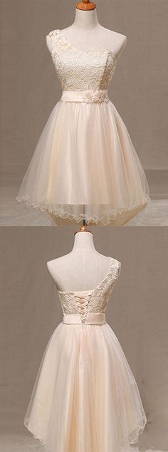 https://www.dresstells.com/a-line-one-shoulder-champagne-organza-homecoming-dress-with-flower-lace-pleats.html    A-line evening dress, one-shoulder homecoming dress, champagne homecoming dress, organza bridesmaid dress, party dress with flower, homecoming dress with lace, homecoming dress with pleats, 2016 homecoming dress, dress for homecoming, discount homecoming dress, cheap homecoming dress, #2016 #homecoming #discount #champagne