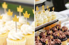 """Party inspired by """"Where the Wild Things Are"""".- cupcakes w/ crowns"""