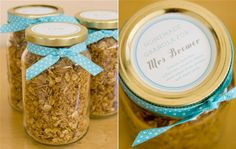 favors - mason jars filled with homemade granola, or pancake mix, or something brunch related