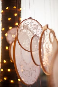 Use embroidery hoops to frame lace and hang as decor perfect for a romantic vintage theme!