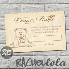 Hey, I found this really awesome Etsy listing at https://www.etsy.com/listing/249774885/teddy-bear-diaper-raffle-baby-shower