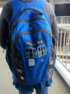 Tardis backpack. I bet you could fit quite a few books in there:)