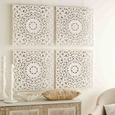 Bleached and Carved Wall Art Pieces Home Accessories, 4 bleached and carved friezes 60 x 60 cm Morrocan Decor, Moroccan Stencil, Living Room Decor, Bedroom Decor, Old Bookcase, Home Scents, Wall Art Sets, 3d Wall Art, Home Accessories