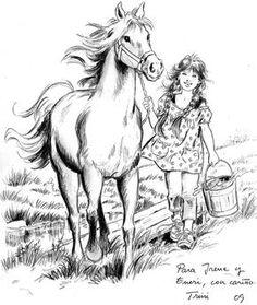 Irene y Eneri - Trini Tinturé: Una Vida a Todo Color - Gabitos Horse Coloring Pages, Colouring Pages, Adult Coloring Pages, Coloring Sheets, Coloring Books, Horse Drawings, Animal Drawings, Art Drawings, Horse Art