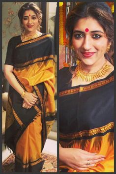 Gorgeousn Yellow and Black Colored Traditional Soft Silk Festive Wear Saree - Kanjivaram Sarees Silk, Soft Silk Sarees, Cotton Saree, Kanchipuram Saree, Bengali Saree, Indian Sarees, Bengali Bride, Ethnic Sarees, Saree Jewellery