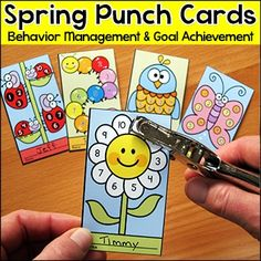 Spring Activities - Punch Cards for Behavior Management and Goal Achievement: Motivate your students to achieve goals and good behavior with these fun and unique spring theme punch cards. Your students will love the cute characters and they will be excited to earn a punch on their card.