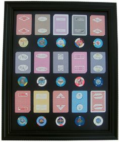 Amazon.com: Black Display Frame WITH Las Vegas Casino Poker Chips and Cards: Sports & Outdoors