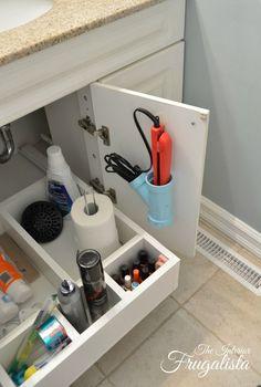 Close Up of DIY Bathroom Vanity Sliding Shelf with Cubbies/The Interior Frugalista