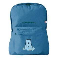 Letter A Child's Monogram with Alligator and Name American Apparel Backpack - boy gifts gift ideas diy unique