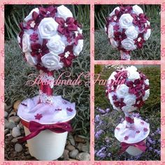 white & wine red -colour satin tree