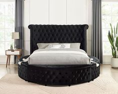 """CM7177BK-Q Red barrel studio linford delilah black fabric upholstered art deco style design round queen bed with nail head trim accents. Queen bed measures 103 1/2"""" x 94"""" x 56"""" H. Some assembly required. Also available in Cal King, Eastern King at additional cost. Art Deco Fashion, Fashion Design, Nail Head, Nailhead Trim, Queen Beds, Bedroom Sets, Black Fabric, Barrel, King"""