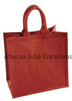 Large bright red jute bag -  (H 40 cm X W 36 cm X 18 cm) - made from high quality hessian that is biodegradable and reusable. The size of this jute bag makes it a great eco-friendly shopping bag. Have them ready at the tills for customers to grab, or fill them with promotional material to give away at trade shows.