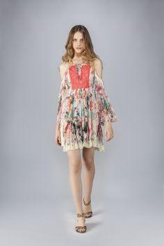 Phoenix Pleated Mini Dress Short Dresses Roberto Cavalli