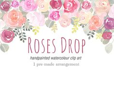 Painted Watercolour Clipart - Roses Drop
