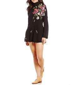 Free People Gemma Mock Neck Printed Tunic Dress