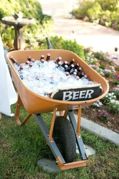 Serve up a wheelbarrow full of cold beer. | 26 Ideas For Throwing The Boozy Tea Party Of Your Wildest Dreams
