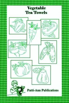 Make your kitchen festive and fun with these delightful vegetable embroideries. Suitable for tea towels, the towels come with seven one-color embroidery designs for you to stitch onto your dishtowels. There are carrots, squash, peppers, tomatoes, and more. Seven designs in all. Trace onto cloth, then stitch to your heart's content.