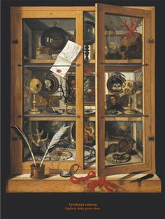 Domenico Remps, Cabinet of Curiosities, 1690s, Opificio delle Pietre Dure, Florence  Domenico Remps (also Rems) was an Italian painter of German or Flemish origin. He was active in the second half of 17th century in Venice and was a successful painter of Trompe-l'oeil paintings.  This trompe-l'oeil painting representing a cabinet of curiosities blurs the boundary between real and fictitious space.