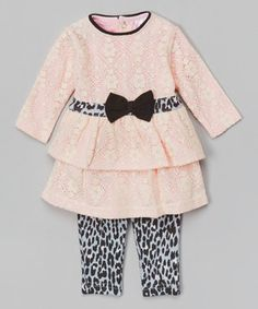 Another great find on #zulily! Baby Essentials Light Pink & Gray Leopard Tunic & Leggings by  #zulilyfinds
