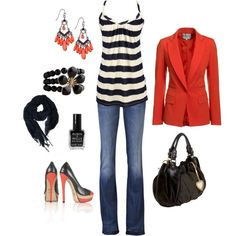 Stripes under red blazer! Have a blazer very similar but not a fan of the accessories here.