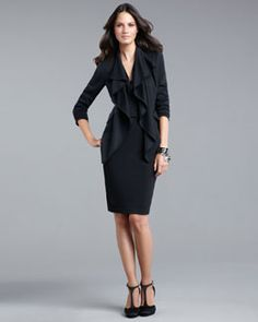 St. John Collection Cascade-Front Jacket & Cowl-Neck Halter Dress