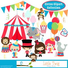 Circus Digital Clipart clip art collection by Dragonflytwist, $6.00