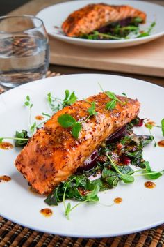 Healthy and delicious Maple-Miso Dijon Salmon.  This might just be a regular favorite.  Yum!