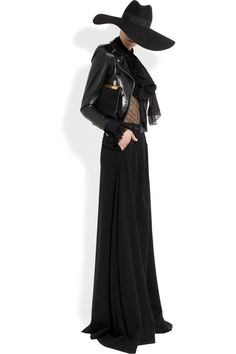 Saint Laurent|Stretch wool-crepe maxi skirt|An air of dark glamour dominated Hedi Slimane's debut collection for Saint Laurent. Cut from swathes of fluid stretch-wool crepe, this floor-length skirt will instantly give you the runway's cool-girl look.     Shown here with: Saint Laurent jacket, top, necktie, bracelet, ring, belt, shoes, clutch.