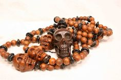108 Wood Bead Mala with Carved Wood Skulls Buddhist by QuietMind, $65.00