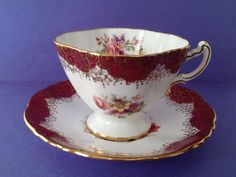 Hammersley Burgundy Gold Filigree Floral by Whitepearlfinds