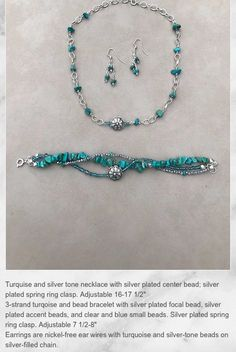 Turquoise necklace, bracelet, and earring set