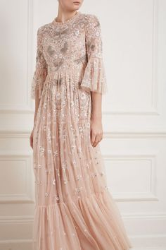 Dragonfly Garden Maxi Dress in Rose Quartz from Needle & Thread Long Sleeve Gown, Sequin Gown, Maxi Gowns, Pink Tulle, Tea Length Dresses, Fitted Bodice, Boho Dress, Lace Dress, Designer Dresses