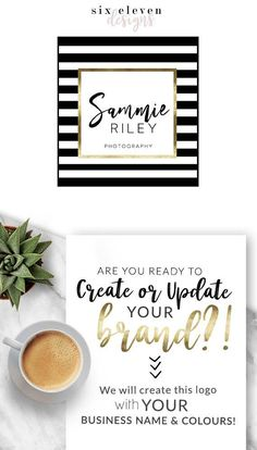 Graphic Design Logos & Branding, Logo, Blog, Boutique, Blog Header, Blog logo, Photographer logo, logo design Shop, Website, Girlboss, Gold Stripes, Kate Spade Inspired