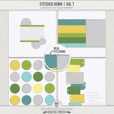 This template set is great if you love the look of stitched paper, as it includes actual dimensional stitching. Each layout comes with four stitching options: white stitching and black stitching (shadowed & unshadowed for each).