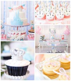 Beautiful Cinderella Princess themed birthday party Castle Girls Kids Blue Pink