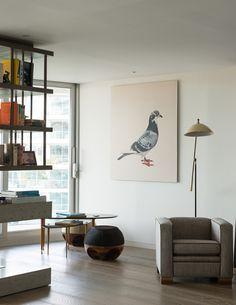 An avian print by Geoff Weston in Tara Bernerd's London living room