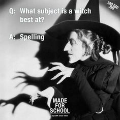 My favorite witch! Bad Dad Jokes, Jokes For Kids, Halloween Jokes, Create Quotes, Joke Of The Day, Funny Pictures, Funny Pics, Funny Stuff, People In Need