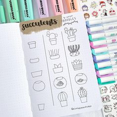 Need ideas for your BuJo? We have 21 creative step by step cactus and succulent doodle ideas for your bullet journal! No artistic talent needed to recreate these simple doodles in your own bullet journal Bullet Journal Notes, Bullet Journal 2019, Cactus Doodle, Doodle Art For Beginners, Bujo Doodles, Planner Doodles, Cactus Drawing, Garden Drawing, Simple Doodles