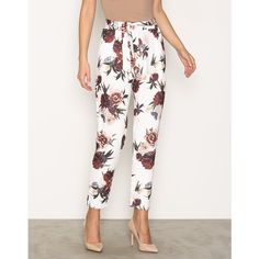 Printed Tie Pants via Polyvore featuring pants, tie pants, flower pants, white trousers and white pants