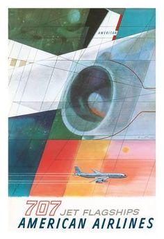 Giclee Print: Boeing 707 Jet Flagships - American Airlines by Herbert Danska : 44x30in