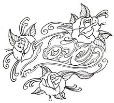 Loveroses Outline by vikingtattoo @ deviantART Skull Coloring Pages, Love Coloring Pages, Printable Adult Coloring Pages, Mandala Coloring, Coloring Books, Coloring Sheets, Free Tattoo Designs, Rosen Tattoos, Heart Outline