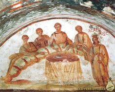 """Painting of a feast / Early Christian catacombs. Fresco of female figure holding chalice in the Agape Feast. Catacomb of Saints Pietro e Marcellino, Via Labicana, Rome, Itally. ''The term Agape or Love feast was used for certain religious meals among early Christians that seem to have been originally closely related to the Eucharist. Agape means """"love: esp. brotherly love, charity; the love of God for man and of man for God."""""""