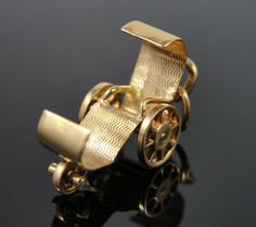 Antique Wheelchair Charm in 14k Yellow Gold
