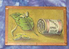 Unique Belding Bros Sewing Thread 1880s Victorian Trade Card Silkworm Framed