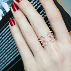 """""""Control Panel"""" 14K Rose Gold Diamond Ring   Plukka"""