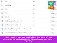 Contoh Soal UTS dan UKK (Ulangan) Kelas 4 SD Mapel IPA IPS Matematika Bahasa Indonesia PKN Bahasa Inggris jawa Terbaru 2015-2016